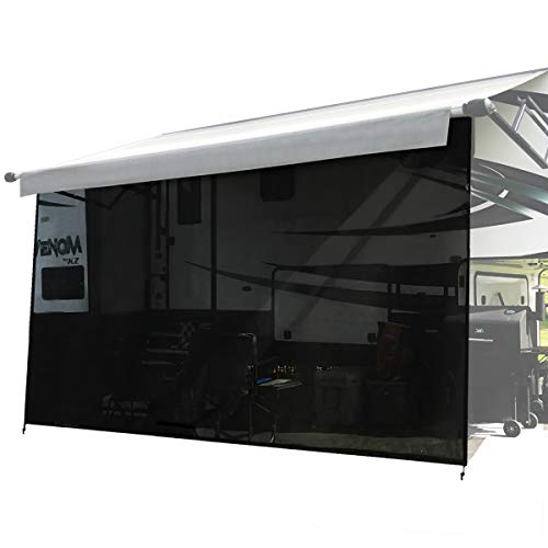 Shadeidea RV Sun Shade Screen for Awning - 10' X 16' 5'' Black Mesh Sunshade Motorhome Camping Trailer UV Sunblocker Canopy Sunscreen Offer 3 Years Warranty ()