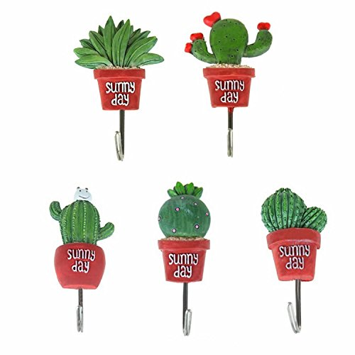 Hot GOOTRADES Set of 5 Cactus Decorative Single Wall Hook,Wall Mounted Hanger Towel Key Hook for Kitchen Bathroom for sale