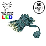 Novelty Lights 50 Light LED Christmas Mini Light Set, Outdoor Lighting Party Patio String Lights, Warm White, Green Wire, 11 Feet