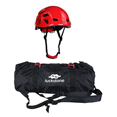 MonkeyJack Folding Rock Climbing Tree Arborist Caving Rappelling Rescue Rope Cord Bag Gear Equipment Carry Backpack + Safety Helmet Hard Hat - Red