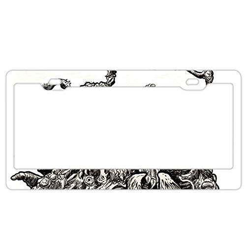 KSLIDS Waterproof Metal License Plate Frame 2-Holes Stainless License Plate Frame-Creepy Spooky Scary Halloween -