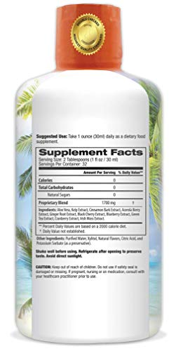 Cinnabalance – Liquid Cinnamon Supplement w/ Cinnamon Bark, Aloe Vera, Ginger Root, Green Tea & Antioxidants - Promotes healthy blood sugar support & glucose levels - 32 oz, 32 servings by Tropical Oasis (Image #1)