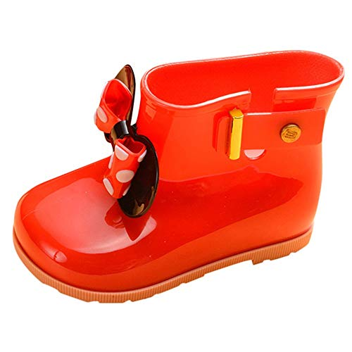 (Toddler Baby Girls Boys Kids Rain Shoes for 1-7 Years Old,Child Bowknot Dot Rubber Waterproof Rain Boot Galoshes (4-5 Years Old, Red))