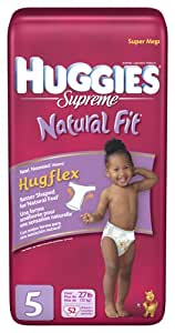 Huggies Natural Fit Diapers, Size 5, 52-Count