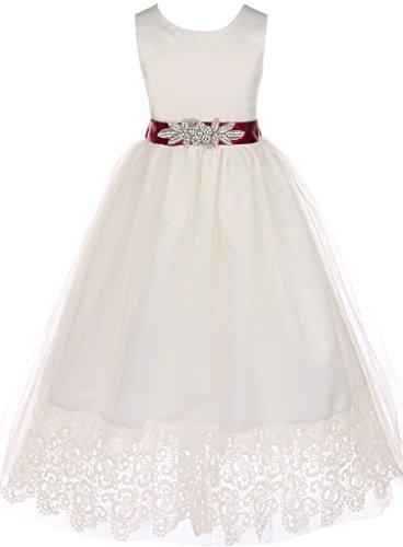 - BNY Corner Communion Bridal Flower Girl Satin Top Scallop Lace For Little Girl Burgundy 10 JKS.2073OW