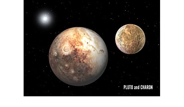 3D Lenticular Postcar Greeting Card Pluto and its moon Charon