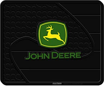 "Black 13.5/"" x 16.5/"" JOHN DEERE RUBBER MAT Utility//Floor Green//Yellow Deer NEW"