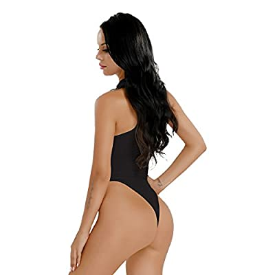 Freebily Women's Lingerie Sleeveless Mock Neck High Cut Crotchless Thong Leotard Bodysuit Jumpsuit
