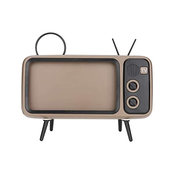 Enceinte Portable Rétro Bluetooth,TV Support de téléphone Portable Haut-Parleur,AUX FM Bluetooth en Option, qualité sonore stéréo 3D 4