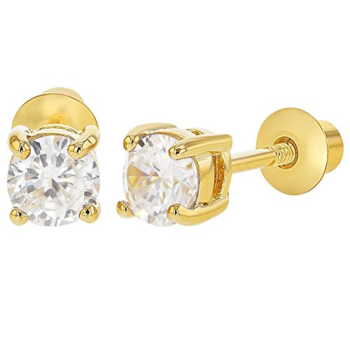 18k Gold Plated April Clear Crystal Screw Back Toddler Earrings for Kids 4mm