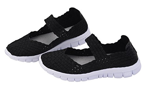 Fashion Mary Black Loafers CAMSSOO Sneakers Breathable Mesh Woven on Women's Shoes Slip Stretch All Janes Walking qwnX8w