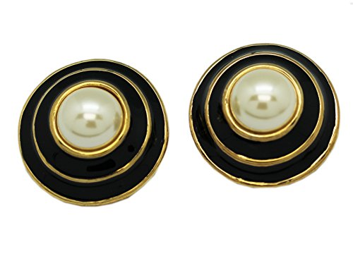 Gold and Black Colored Swirl Clip-On Earrings With Center Faux Pearl