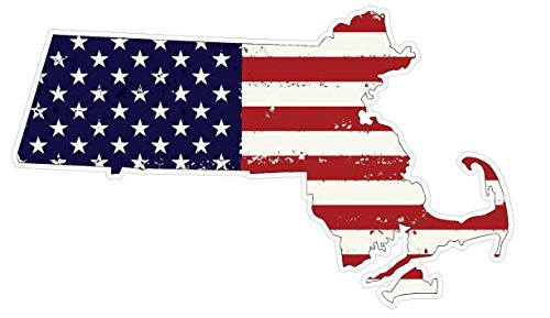 Massachusetts State (J22) USA Flag Distressed Vinyl Decal Sticker Car/Truck Laptop/Netbook Window