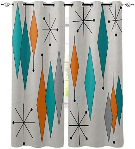 Edwiinsa Vintage Mid Century Diamond Design Kitchen Blackout Curtains Window Drapes Treatment