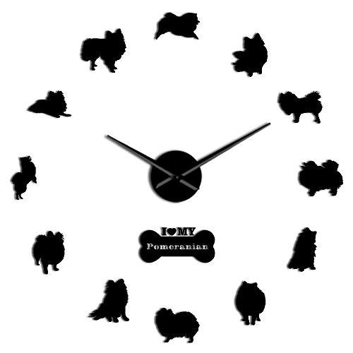 GUABOHHY Dog Breed Pomeranian Wall Clock Deutscher Spitz DIY Frameless Wall Clock Large Needle Mirror Effect Acrylic Big Time Clock ()