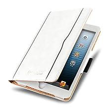 iPad Mini 4, 3, 2, and 1st Generation Case, JAMMYLIZARD The Original White & Tan Leather Smart Cover