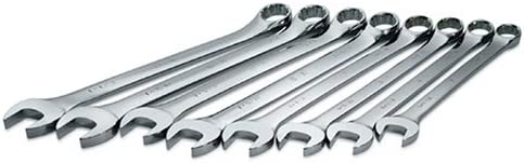 Set of 8 Chrome Wrenches Made in USA SuperKrome Finish SK Professional Tools 86048 8-Piece 12-Point Fractional Long Combination Wrench Set