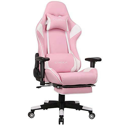 Cyrola Pink Gaming Chair with Footrest Armrest Adjustable Big Size High Back 90-180 and Gaming Seat 360 Swivel Video Game Chair