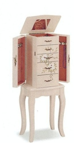 Coaster Home Furnishings Queen Anne Style White Wood Finish Hand Painted Floral Jewelry Armoire
