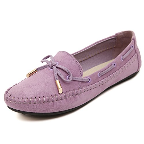 Lemontree Damen Sommer Slip on Flach Schuhe Mokassins Slippers 270 Lila