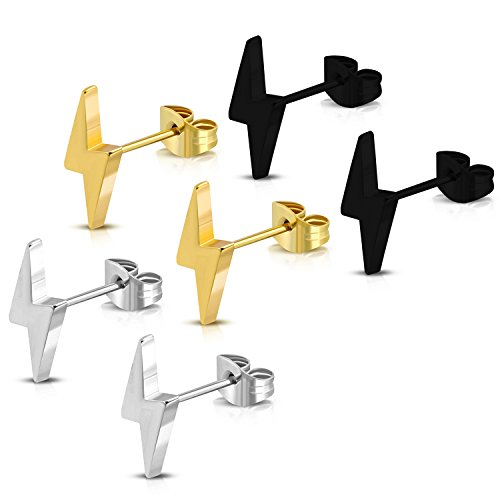 Stainless Steel Lightning Bolt Flash Thunder Button Stud Post Earrings (Black, Gold, Silver) 3-Color (Silver Three Colour)