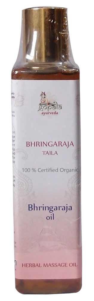 Bhringaraja Taila BIO, Aceite de masaje Ayurveda para el pelo, estimula crecimiento del cabello, Aceite para combatir las canas. Certificado ecológico , 100% Vegano, En aceite (150 ml) Gopala Ayurveda
