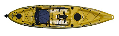 "Riot Mako Fishing Kayak 12"" ft Sit on Top with Impulse Pedal Drive, Deluxe, Yellow"
