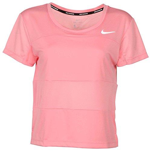 NIKE Women's Dri-Fit City Core Running Shirt-Coral-XS