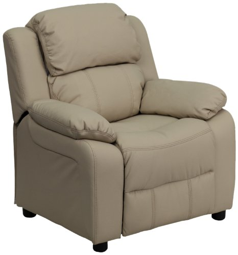 Leather Deluxe Recliner (Flash Furniture Deluxe Padded Contemporary Beige Vinyl Kids Recliner with Storage Arms)