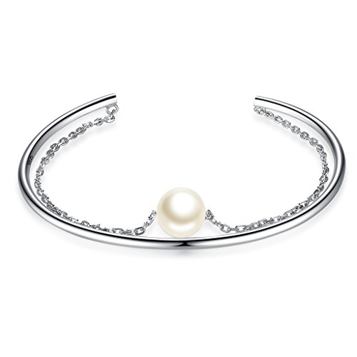 (EVER FAITH 925 Sterling Silver 9MM AAA Freshwater Cultured Pearl Elegant Daily Link Cuff Bracelet Clear)