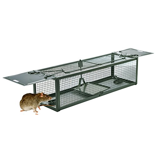 "Humane Animal Live Cage Rat Cage Trap with 2 Doors for Mice Hamsters Chipmunks Rodents Gopher Control 15.2""x4.9""x4.2"""