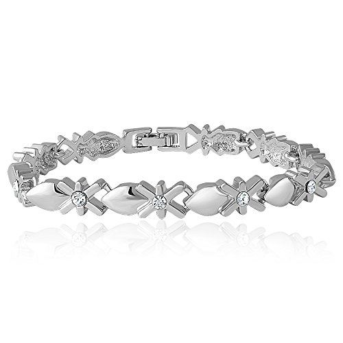 Mahi White Rhodium Plated Crystal Strand Bracelet For Women Br1100165R
