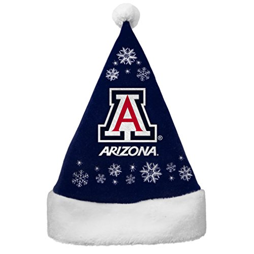 NCAA Arizona Wildcats Full Embroidered Snowflake Santa Hat ()