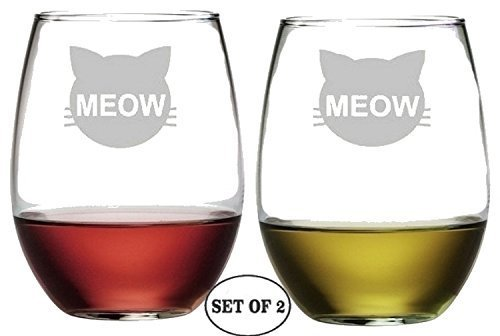 Cat Meow Set of 2 Stemless Wine Glasses Etched Engraved Monogrammed hand Made