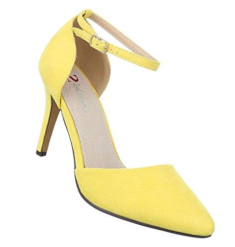Damen Pumps Schuhe Elegant High Heels Gelb