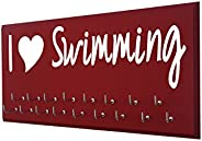 RunningontheWall Swimming Medal Holder, Swimming Gifts for Girls I Love Swimming Swimmer Gifts, Swimming Medal