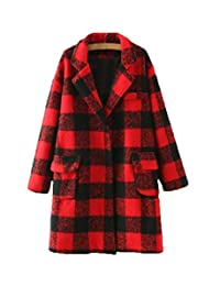 Women's jacket winter new red plaid coat trench coat (Color : Red and black plaid, Size : M)