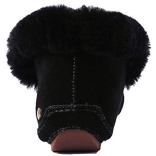 U-lite Women's Warm Fur Wool Slipper Casual Winter Slouch Flat Indoor&Outdoor Loafer, Wool Slippers for Women