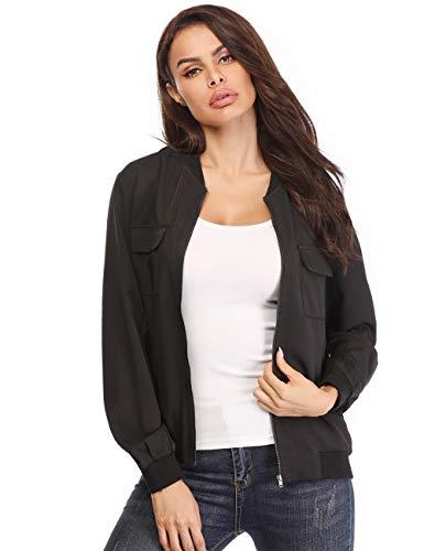 MISS MOLY Women's Zip Up Bomber Jackets Long Sleeve Casual Lightweight Biker Coat Black XS ()