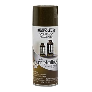 Rust-Oleum 202642 American Accents Topcoat Designer Metallic Spray Paint, 12 Oz Aerosol Can, 11 oz, Classic Bronze