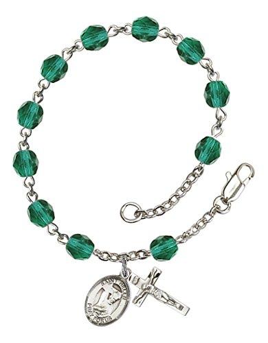 December Birthstone Rosary Bracelet (December Birth Month Bead Rosary Bracelet with Saint Helen Petite Charm, 7 1/2 Inch)