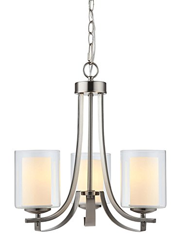 Hardware House LLC 20-7577# 3-Light Chandelier Satin Nickel, 4.5
