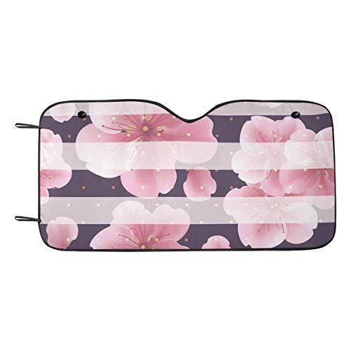 - INTERESTPRINT Pink Sakura Flowers Petals Dots Lines Auto Windshield Sun Shades Car Front Window Sunshade