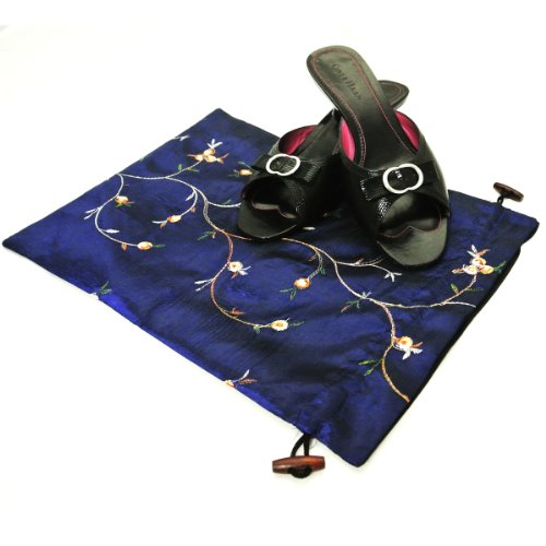 411D8hYNaDL - Wrapables Beautiful Embroidered Silk Travel Bag for Lingerie and Shoes, Dark Blue