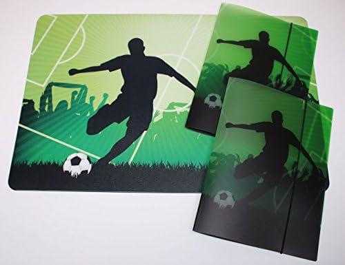 Schreibtischunterlage 40 x 60 cm Fußballspieler / Fußball mit 2 passenden Sammelmappen DIN A4