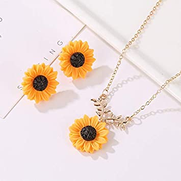 Sunflower Necklace and Earring Set, Sunflower Pearl Resin Boho Long Drop Handmade Pendant Necklace Choker with Sunflower Resin Earrings Sets for Women ...