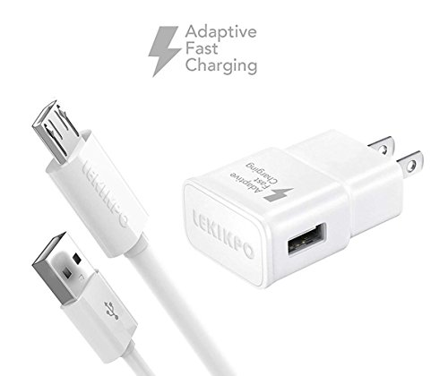 LEKIKPO Micro USB Android Cell Phone Adaptive Fast Charger for Samsung Galaxy S7/S7 Edge/S6/Edge/Edge+/Note 4/5, LG G2 G3 G4 (Wall Charger + 5FT Cable) by LEKIKPO