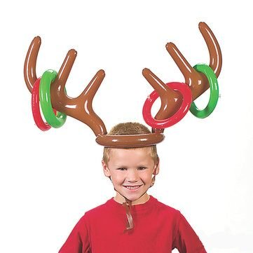 Children Kids Inflatable Santa Funny Reindeer Antler Hat Ring Toss Christmas Holiday Party Game Supplies Toys by Completestore from Completestore