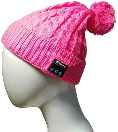 Vizliter Bluetooth Beanie with Headphones Winter Fashion Pom Pom Wireless Hat with Built-in Mic, Rechargeable and Volume Control and HD Stereo Speakers, Warm Cable Knit Cap Cuff Beanie Pink