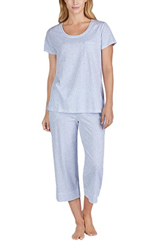 Carole Hochman Women's 2 Piece Capri Pajama Set (Blue Dots, Small)